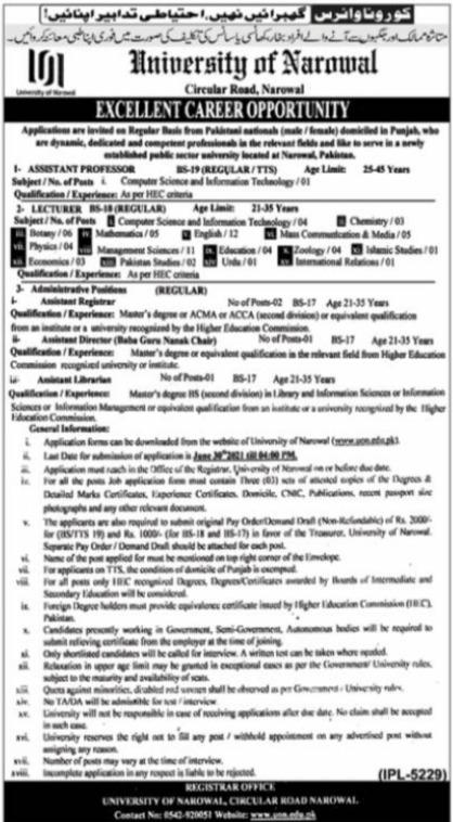 University of Narowal Jobs 2021 in Narowal