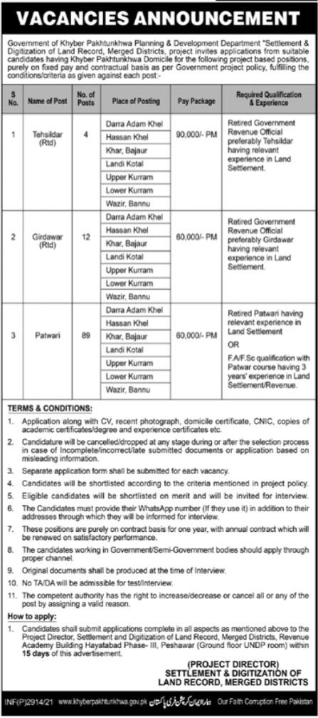 Planning & Development Department KPK Jobs 2021
