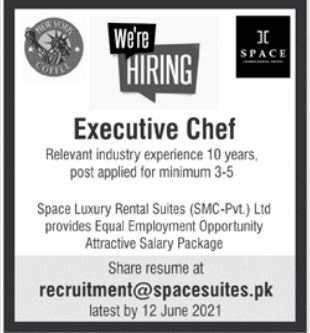 Executive Chef Jobs in Space Suites Bahria Town