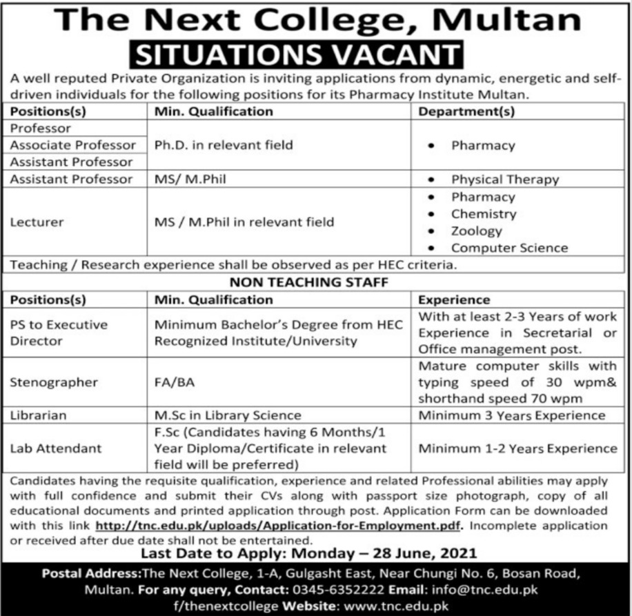 The Next College Multan Jobs 2021