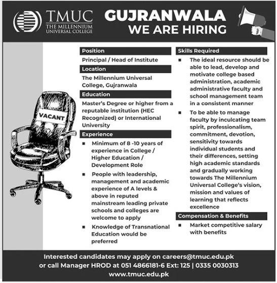 The Millennium Universal College TMUC Jobs 2021