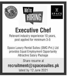 Executive Chef Job 2021 in Islamabad