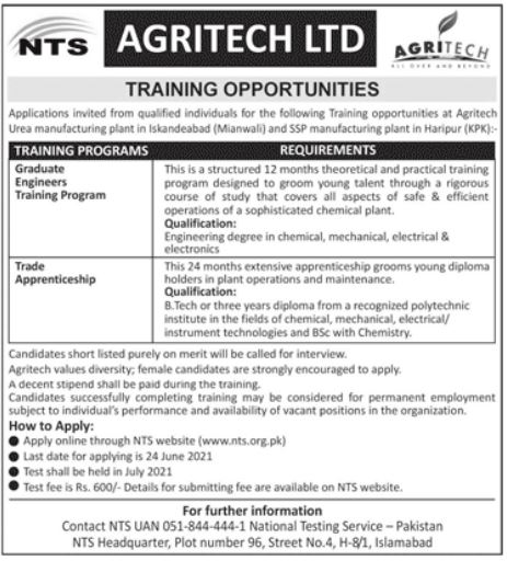 Agritech Limited Apprenticeship Program 2021 via NTS