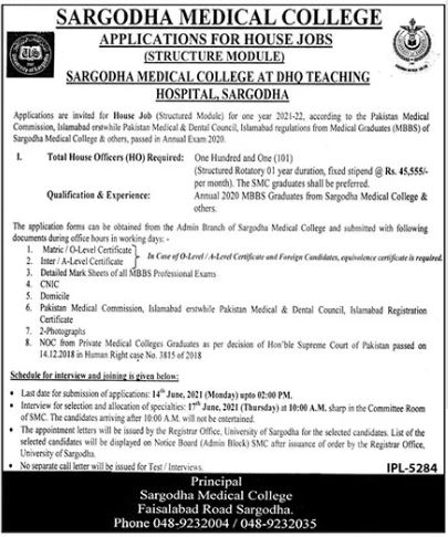 Sargodha Medical College Jobs 2021 For House Officers