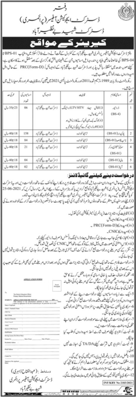 District Education Officer Primary Jobs 2021