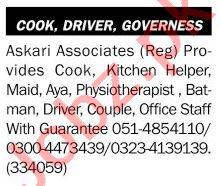 Askari Associates Jobs 2021 for Kitchen Helper & Aya