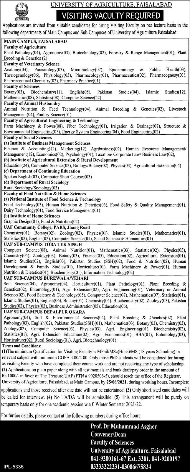 University of Agriculture Visiting Faculty Jobs 2021