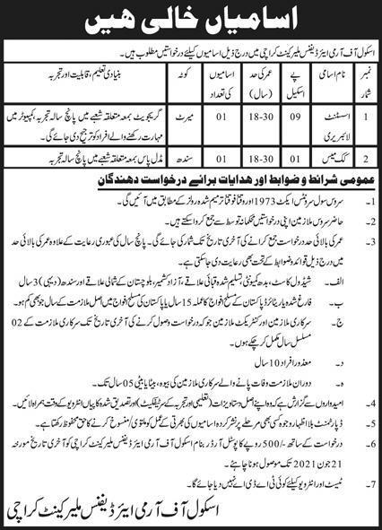 School of Army Air Defence Malir Cantt Karachi Jobs 2021
