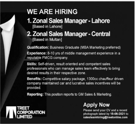 Treet Corporation Limited Jobs 2021 For Sales Staff