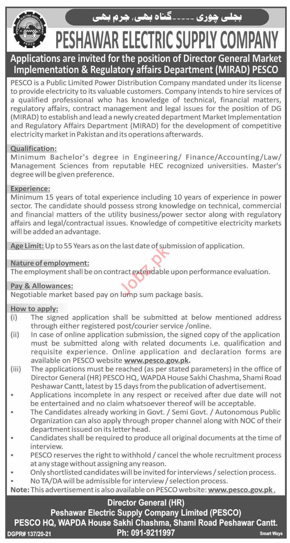 MIRAD Peshawar Electric Supply Company PESCO Jobs 2021