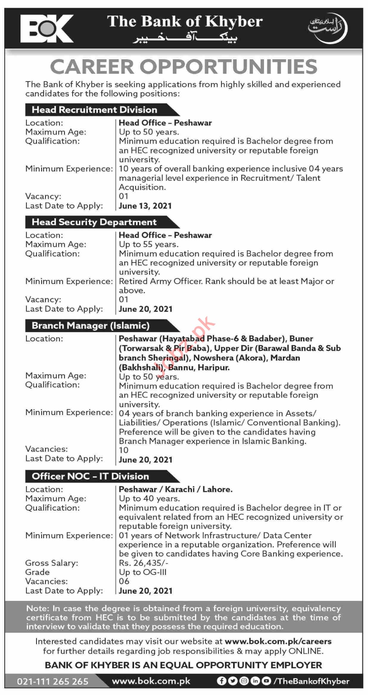 Bank of Khyber BOK Jobs 2021 for Head Recruitment Division