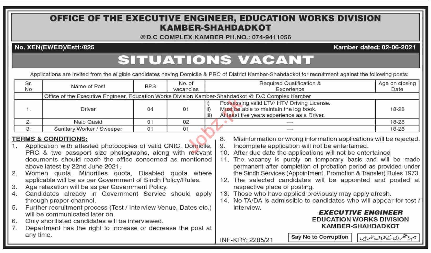 Educations Works Division Kamber Shahdadkot Jobs 2021