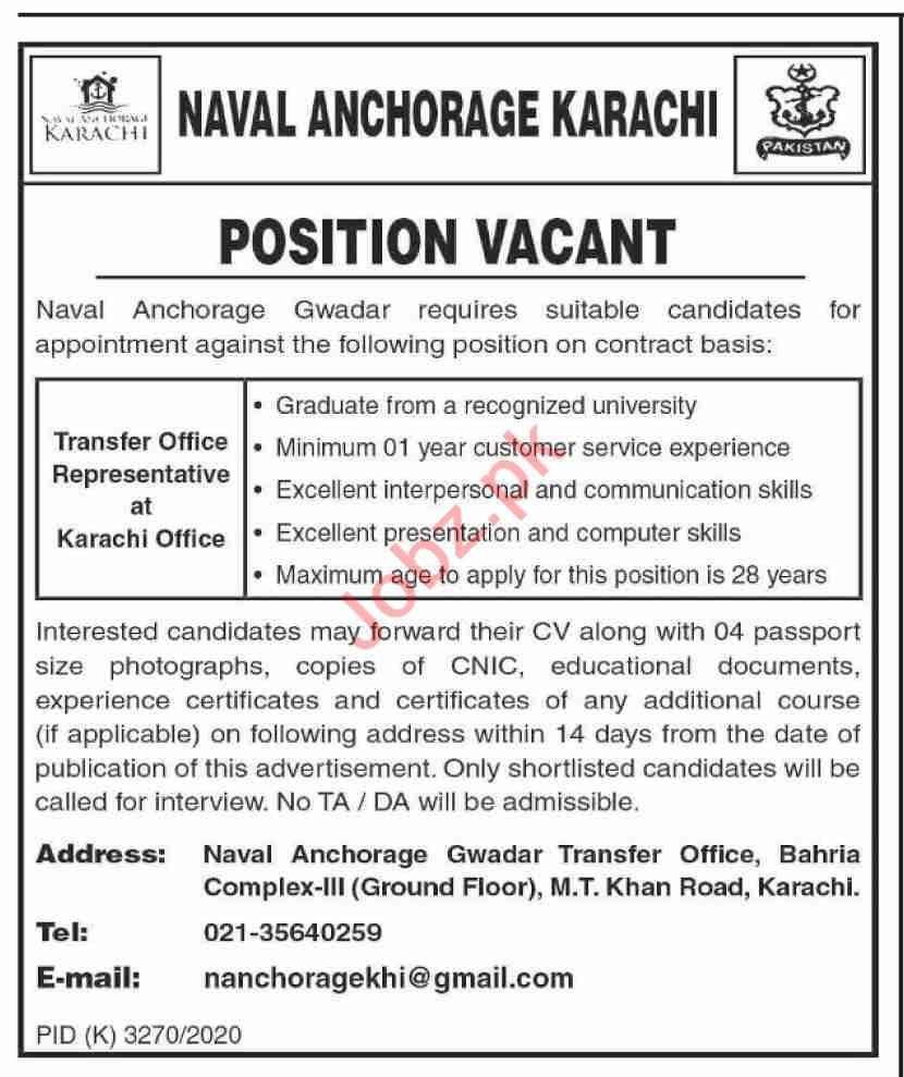 Pakistan Navy Naval Anchorage Gwadar Jobs 2021