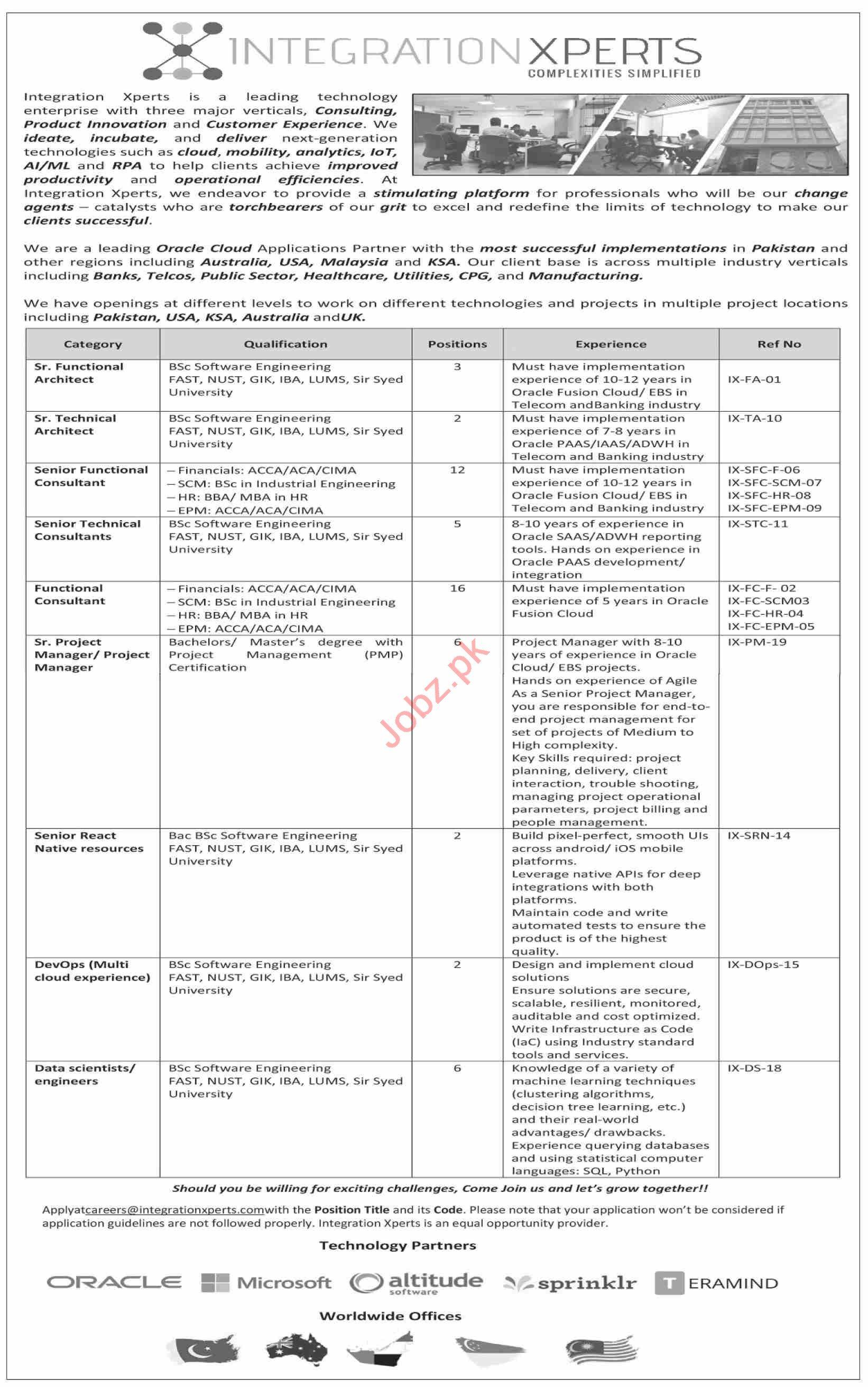 Integration Xperts Karachi Jobs 2021 for Architects