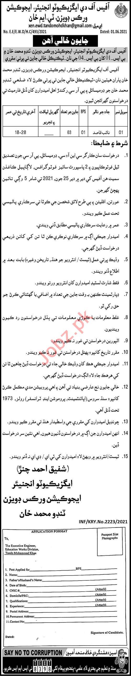 Educations Works Division Tando Muhammad Khan Jobs 2021