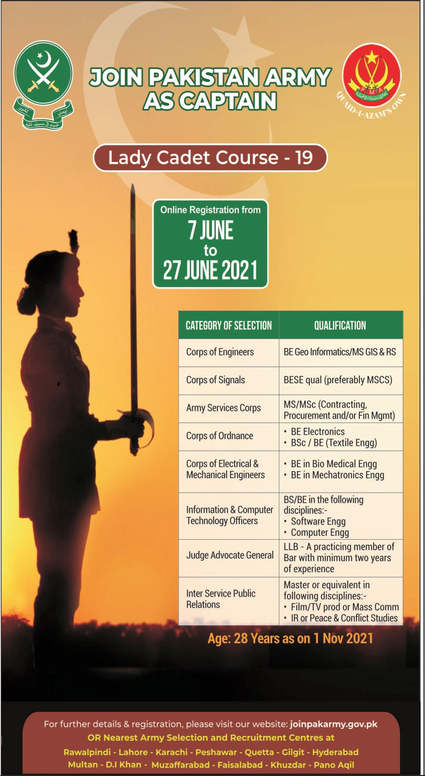 Join Pakistan Army as Captain Lady Cadet Course 19