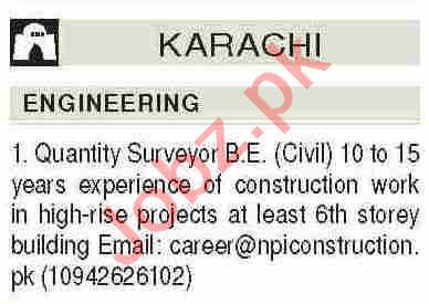 Quantity Surveyor & Engineer Jobs 2021 in Karachi