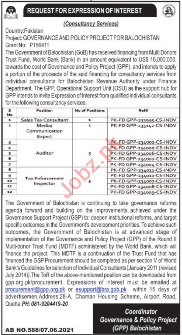 Governance & Policy Project GPP Quetta Jobs 2021