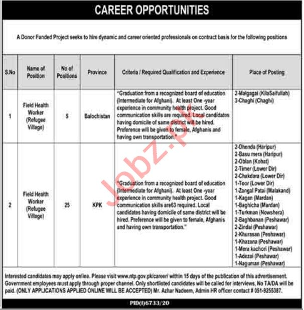 Field Health Worker Jobs 2021 in Donor Funded Project