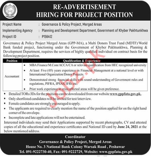 Governance & Policy Project GPP Merged Areas KPK Jobs 2021