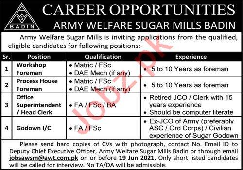 Army Welfare Sugar Mills AWT Badin Jobs 2021 for Foreman