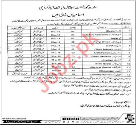 Sindh Government Hospital Liaquatabad Jobs 2021 for Bearer