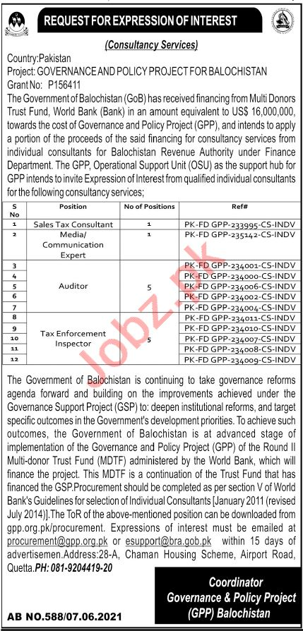 Governance & Policy Project GPP Quetta Jobs 2021 Consultant