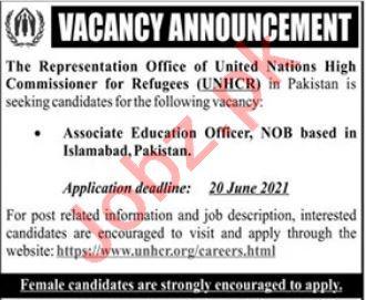 UNHCR Islamabad Jobs 2021 for Associate Education Officer