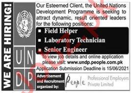 UNDP Jobs 2021 for Laboratory Technician & Field Helper