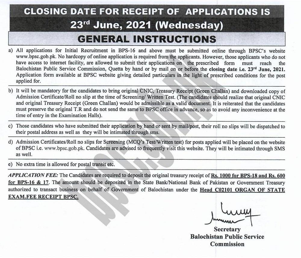 BPSC Balochistan Public Service Commission Jobs June 2021