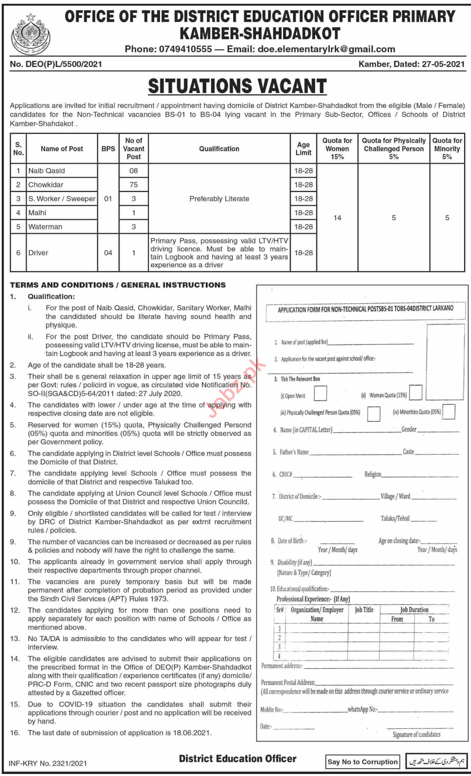 District Education Officer DEO Primary Shahdatkot Jobs 2021