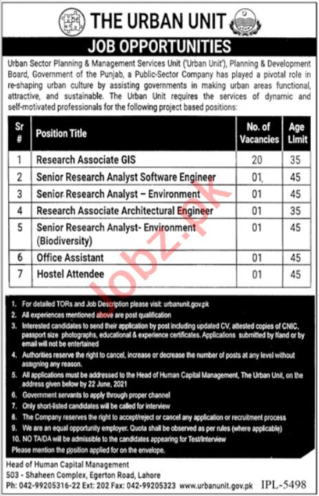 The Urban Unit Lahore Jobs 2021 for Research Associate