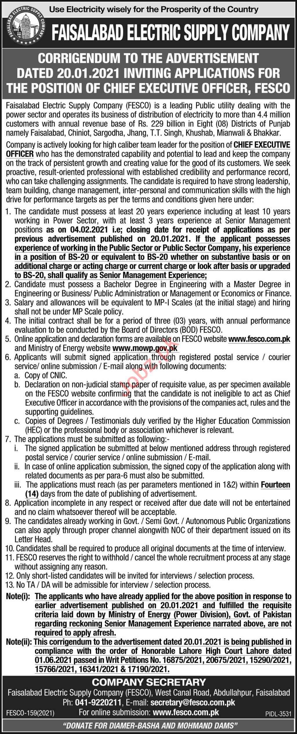 CEO Jobs 2021 in Faisalabad Electric Supply Company FESCO