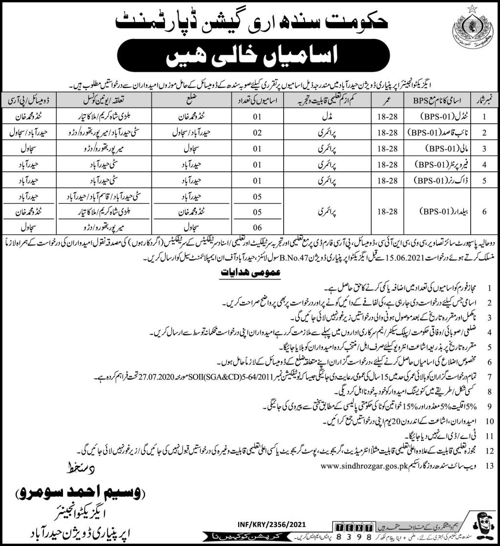 Non Technical Staff Jobs in Irrigation Department