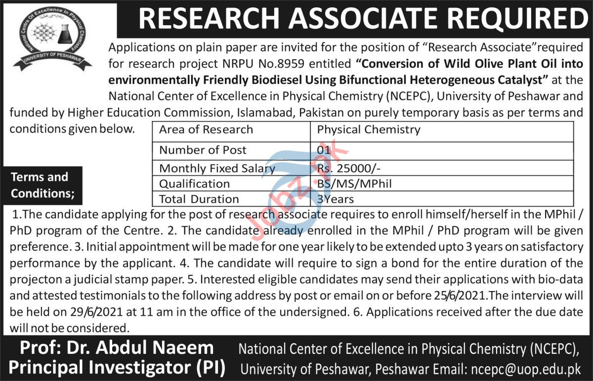National Centre of Excellence Physical Chemistry NCEPC Jobs