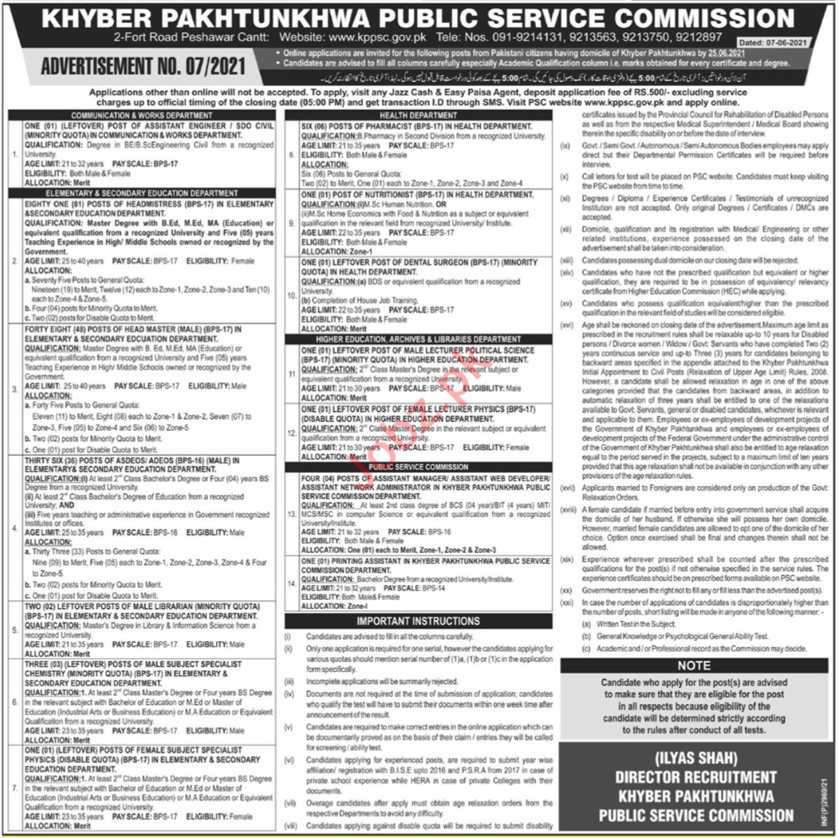 KPPSC Jobs June 2021 for Head Master & Engineer