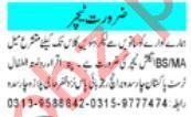 Male & Female Teaching Staff Jobs 2021 in Peshawar