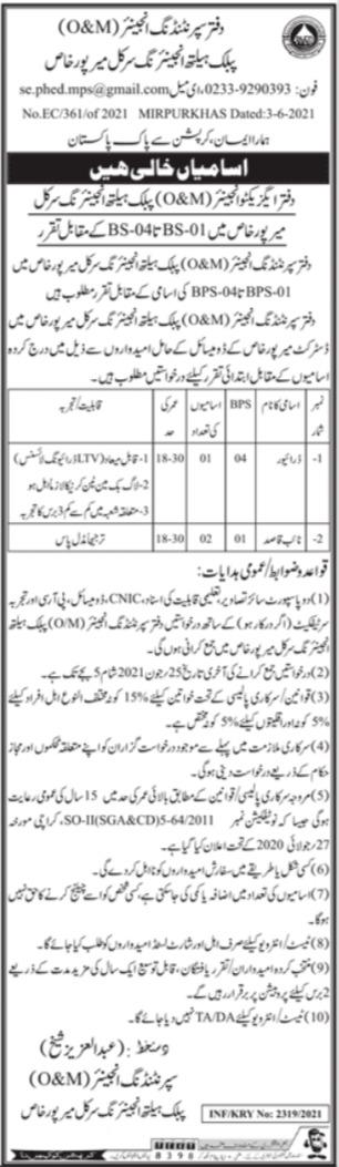 Public Health Engineering Circle Driver & Naib Qasdi Jobs