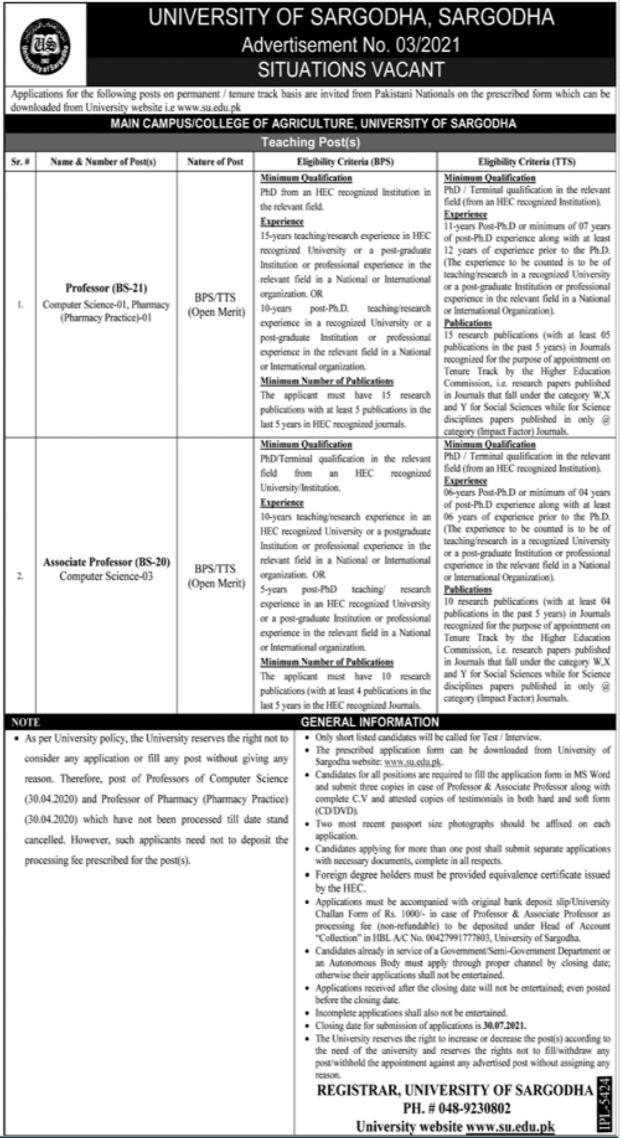 University of Sargodha Faculty Staff Jobs 2021
