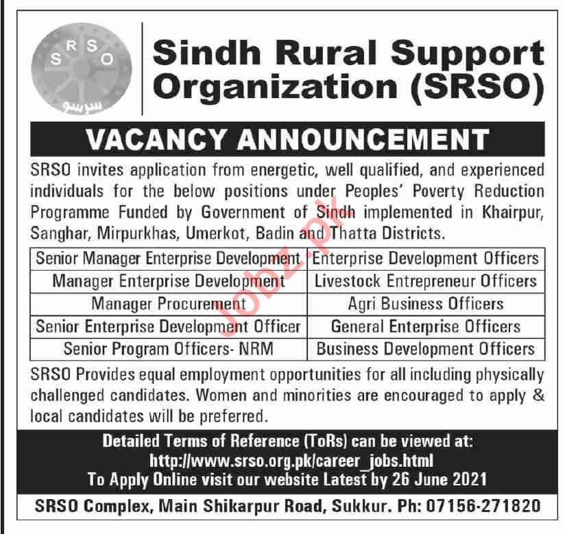 Sindh Rural Support Organization SRSO Jobs 2021 for Manager