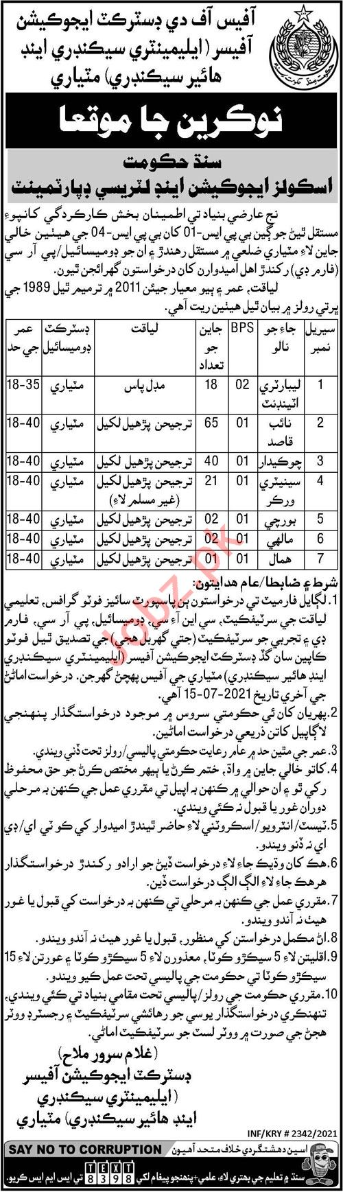 District Education Officer DEO Matiari Jobs 2021 for Sweeper
