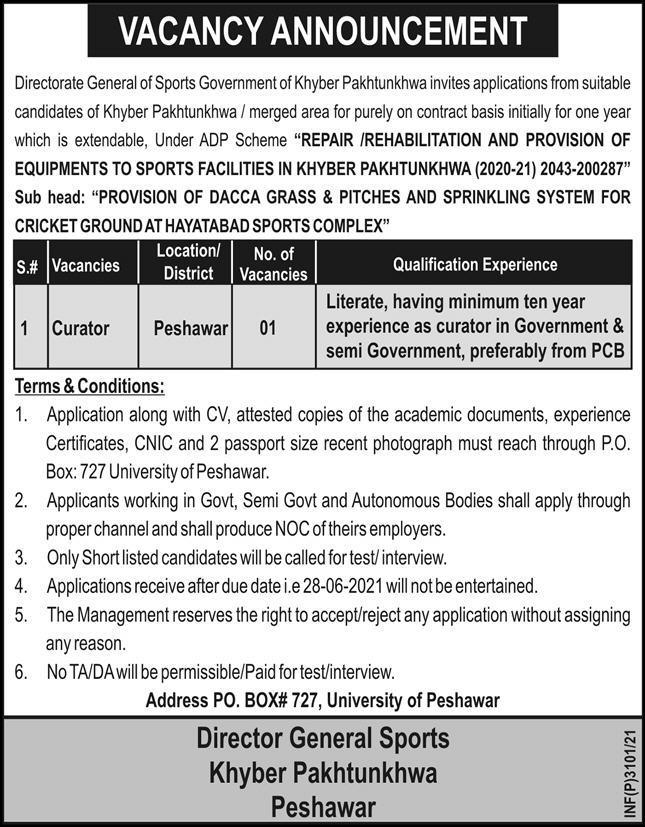 Khyber Pakhtunkhwa Sports Department Peshawar Jobs 2021