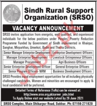 Sindh Rural Support Organization SRSO Sukkur Jobs 2021