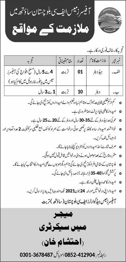 Officers Mess FC Balochistan South Jobs 2021