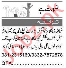 English Teacher & Teacher Jobs 2021 in Quetta