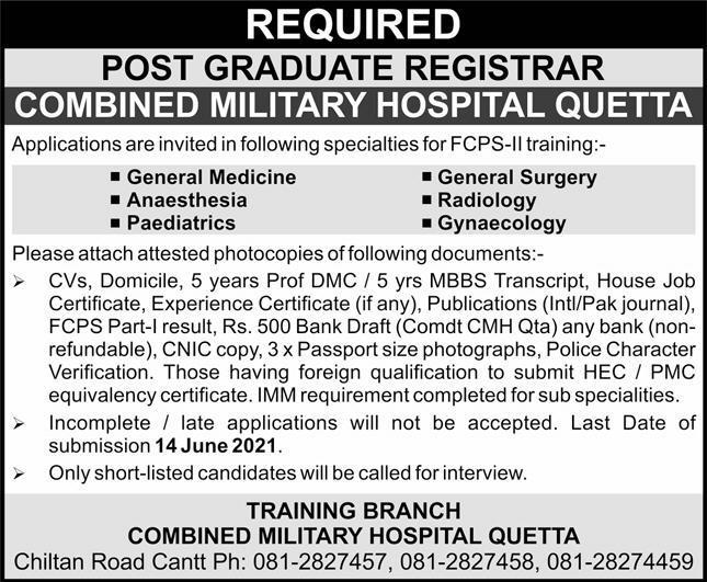 Combined Military Hospital CMH Quetta Jobs 2021