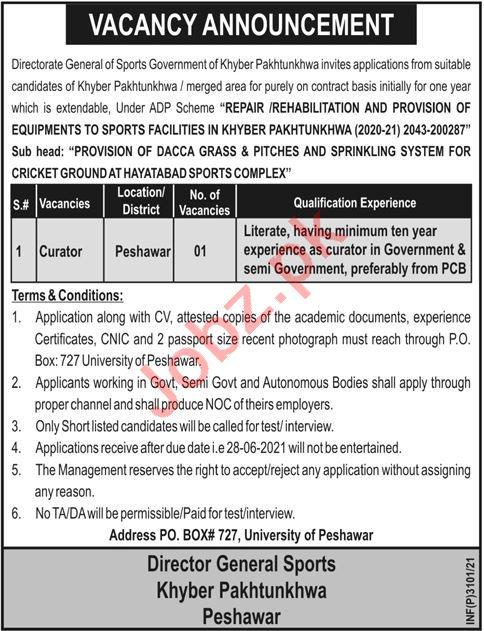 Directorate General of Sports Khyber Pakhtunkhwa Jobs 2021