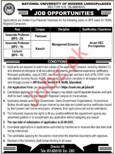 NUML Jobs 2021 for Associate Professor & Lecturer