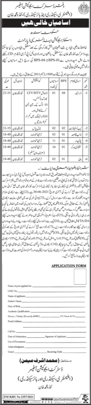 District Education Office Tando Muhammad Khan Jobs 2021