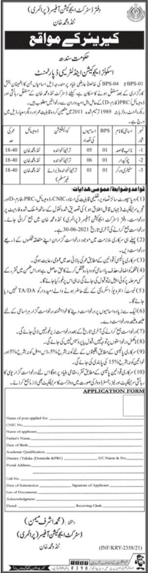 Sindh School Education & Literacy Department Jobs 2021